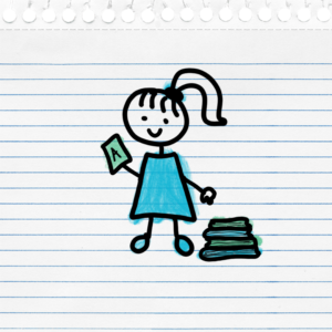 """Girl holding a report card with an """"A"""" next to a stack of books"""