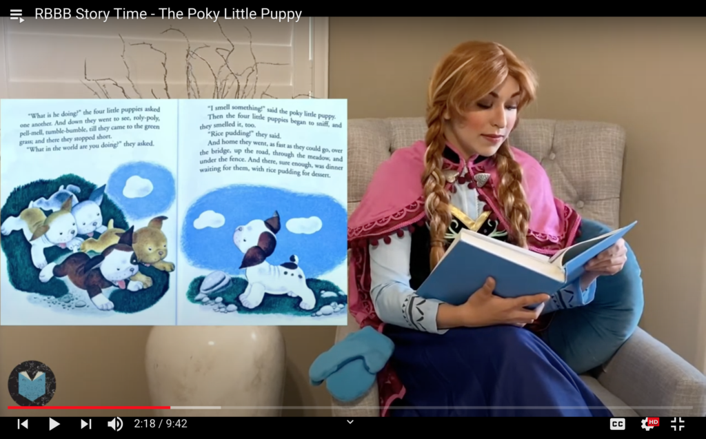 Screenshot of storytime video