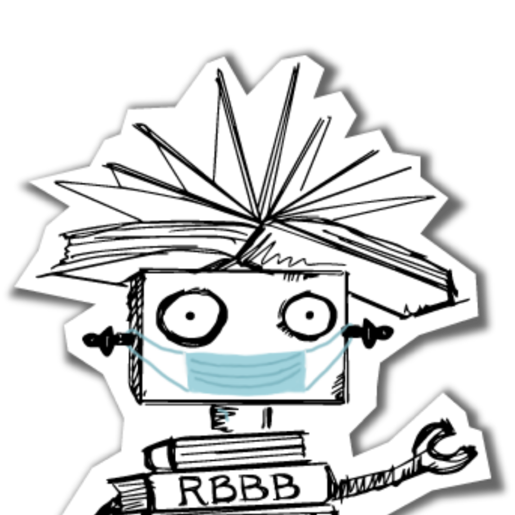 The upper half of the Dr. Dave robot logo wearing a mask