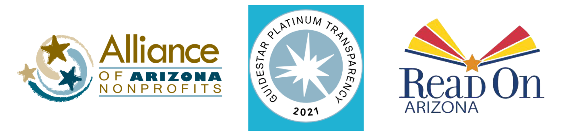 Alliance of AZ Nonprofits logo, Platinum Guidestar rating badge, Read On AZ logo