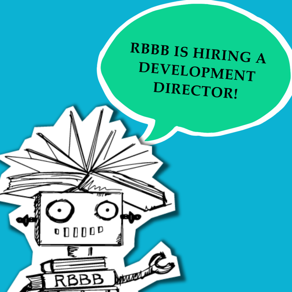 """Dr. Dave with a speech bubble that says, """"RBBB is hiring a development director!"""